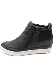 Sneaker Orcade Em Couro Zíper Nas Laterais Preto