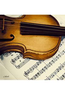 Quadro Impressão Digital Violino Marrom 30X30Cm Uniart