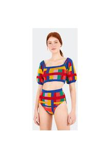 Calcinha Hot Pants Tricot Xadrez Rainbow