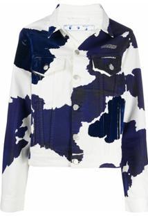 Off-White Jaqueta Jeans Com Estampa De Vaca - Azul