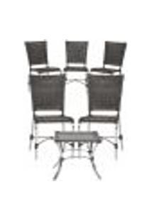 Jogo Cadeiras 5Un E Mesa De Centro Romenia Para Edicula Jardim Area Varanda Descanso - Tabaco