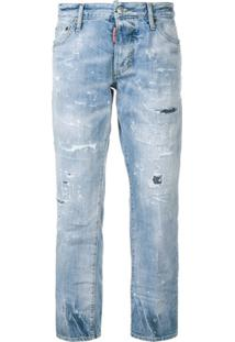 Dsquared2 Cropped Distressed Jeans - Azul
