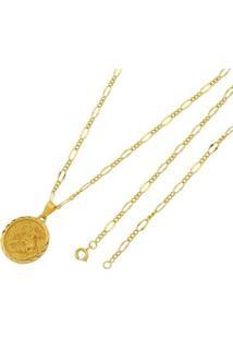 Pingente São Jorge Com Corrente Tudo Joias Folheada A Ouro 18K - Unissex-Dourado
