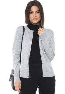 Cardigan Banana Republic Tricot Stretch-Cotton Cinza