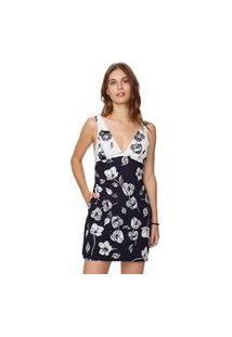 Vestido Decote Floral Tulipas Preto - 36
