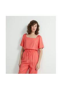 Blusa Decote Quadrado Em Crepe Com Detalhe No Ombro | Cortelle | Laranja | Gg