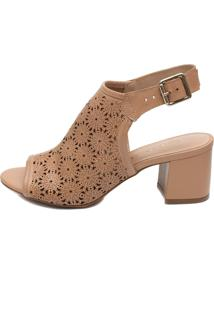 Ankle Boot Giulia Domna Em Couro Floral Nude