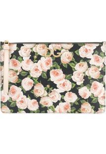 Dolce & Gabbana Clutch Com Estampa Floral - Preto