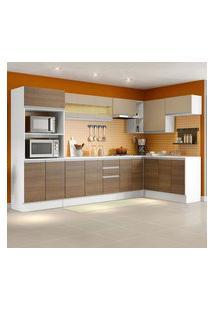 Armário De Cozinha Completa De Canto Madesa Smart 100 Mdf Modulada Branco/Rustic/Crema Cor:Branco/Rustic/Crema