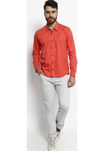 Camisa Slim Fit Com Bordado - Coral & Azul Marinhoogochi