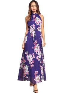 Vestido Longo Estampa De Flores Sem Manga - Violeta M