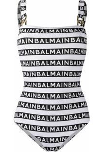 Balmain Macacão Com Estampa De Logo E Detalhe De Corrente - Branco