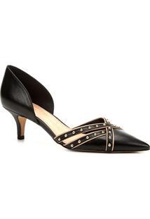 Scarpin Couro Shoestock Salto Baixo Cravos - Feminino-Preto