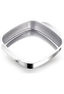 Assadeira De Alumínio Quadrada 25 Cm Alumínio Nacional