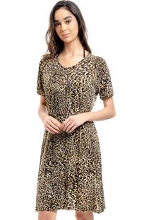 Vestido Evasê Raglan 101 Resort Wear Malha Fria Onçinha Animal Print