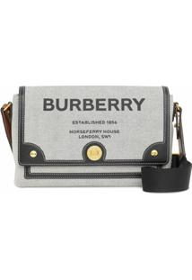 Burberry Bolsa Transversal Note Com Estampa Horseferry De Canvas - Preto