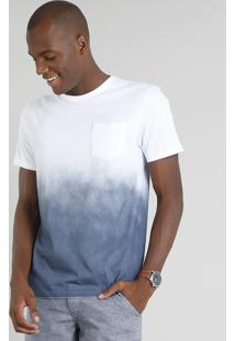 Camiseta Masculina Degradê Manga Curta Gola Careca Azul Marinho