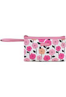 Nécessaire Com Alça- Pink & Branca- 12X21X3Cm- Jjacki Design