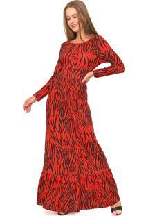 Vestido Fiveblu Longo Estampado Vermelho/Preto
