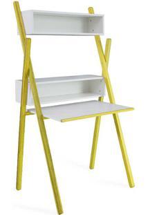 Escrivaninha Para Quarto Pequeno Branca E Madeira Amarela Design Moderno Sue Woodinn - 87X62X158 Cm