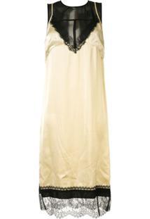 Nº21 Slip Dress De Cetim Com Sobreposição - Marrom
