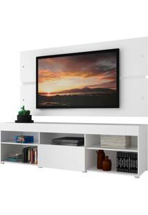 Rack Com Painel Para Tv Atã© 65 Polegadas Madesa Havaã 1 Porta - Branco Branco - Branco - Dafiti