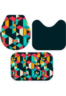 Jogo Tapetes Love Decor Para Banheiro Colorful Polygonal Multicolorido Único - Kanui