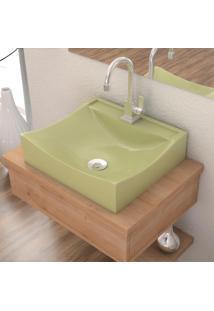 Cuba De Apoio P/Banheiro Compace Lunna Q44W Retangular Verde Acqua