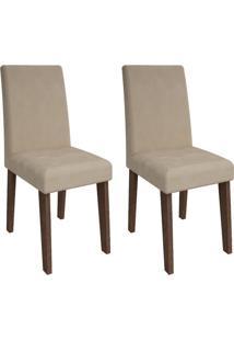 Cadeira Cimol Milena Marrocos,Suede Bege 2 Cadeiras