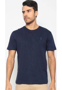 Camiseta Lisa Com Bordado- Azul Marinhoaleatory