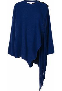 Stella Mccartney Suéter De Tricô Canelado Com Detalhe De Franjas - Azul