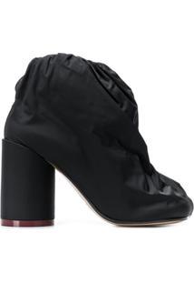 Mm6 Maison Margiela Ankle Boot Com Tecido De Revestimento - Preto