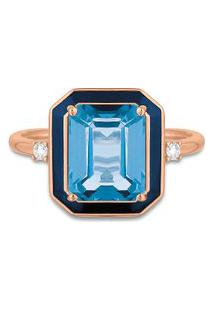 Anel Policroma Ouro Rosé Topázio London E Diamantes Grande