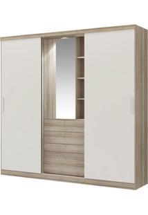 Guarda-Roupa Zeus Com Espelho - 5 Portas - Anís Com Camurça