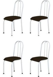 Kit 4 Cadeiras Baixas 0.104 Anatômica Branco/Tabaco - Marcheli
