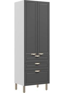 Paneleiro Duplo Com 2 Portas E 3 Gavetas Nevada 5628-Multimóveis - Branco Premium / Grafite Premium