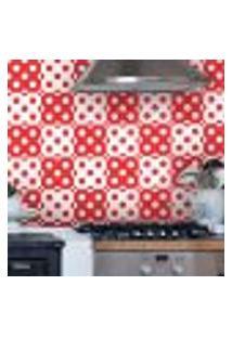 Adesivo De Azulejo Bolinhas Vermelho E Branco 10X10Cm