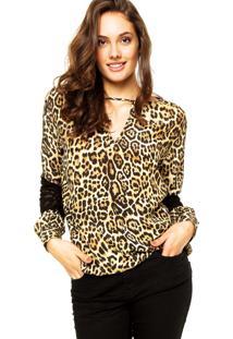 Camisa Seda Animale Onça Belle Amarela/Preta