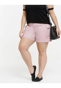 Short Feminino Textura Cargo Plus Size Razon