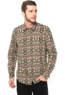 Camisa Reserva Regular Fit Estampada Preta/Verde