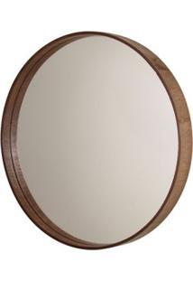 Espelho Formacril Redondo Com Moldura De Madeira A: 45 Cm X C: 45 Cm Imbuia