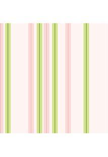 Papel De Parede Adesivo Listrado Rosa E Verde