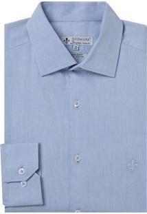 Camisa Dudalina Manga Longa Fio Tinto Maquinetada Masculina (Azul Claro, 46)