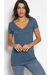 Camiseta Com Bordado - Azul Escuro & Vinhoaleatory