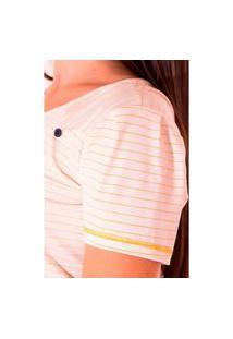 Blusa De Malha Listrada Com Estampa Localizada Hadaza Amarelo