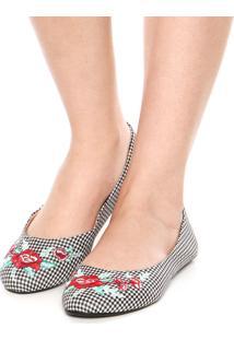 Sapatilha Dafiti Shoes Vichy Bordado Floral Preta