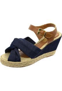 Sandália Anabela Mariha Calçados Laço Jeans