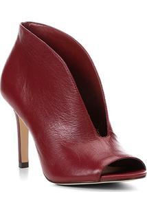 Sandália Couro Shoestock Vamp Salto Fino Feminina - Feminino-Vinho