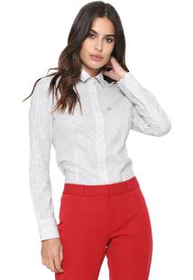 Camisa Dudalina Listrada Branca/Preta