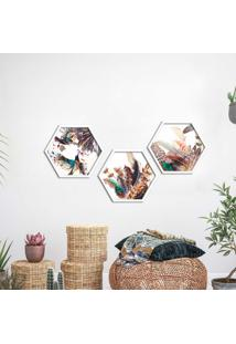 Kit 3 Quadros Com Moldura Hexagonal Penas